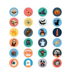 Flat halloween icons 1 vector