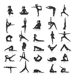 Yoga postures exercises set vector image