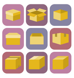 box icon in flat style vector image vector image