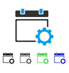 Calendar page options gear flat icon vector