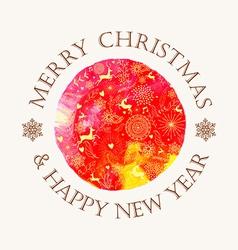Christmas circle watercolor greeting card vector image vector image