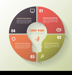 Circle four step template with icons vector