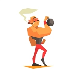 Circus strongman performing vector