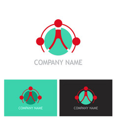 connect teamwork technology logo vector image