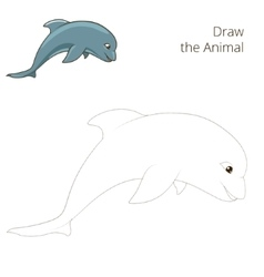 Draw the fish animal dolphin educational game vector image vector image