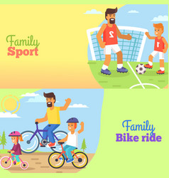 family football and bike riding with dad and kids vector image vector image