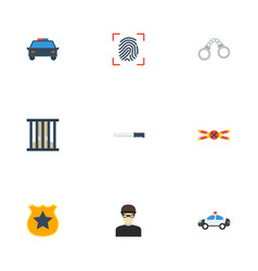 Flat icons bayonet jail thief and other vector
