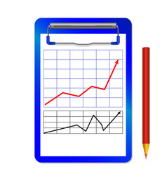 Folder with clip with graph with arrow red black vector