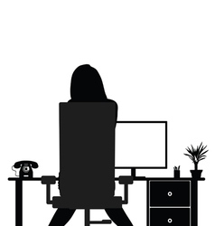 Girl beauty in office silhouette vector