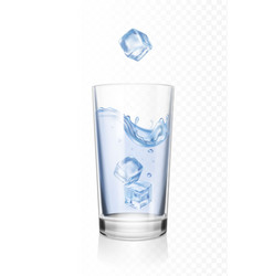 Glass of water with ice cubes realistic vector