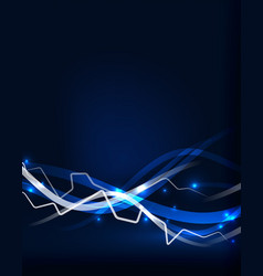 Glowing wavy lines template vector