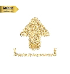 Gold glitter icon of download isolated on vector image vector image