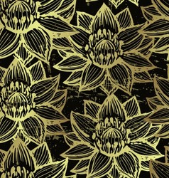 Golden lotus seamless pattern vector