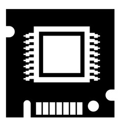 integrated microchip icon simple black style vector image vector image