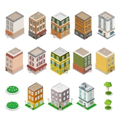 Isometric city buildings houses and cottages vector