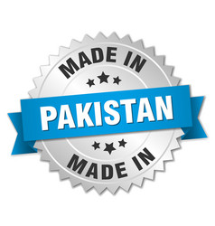 Made in pakistan silver badge with blue ribbon vector