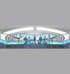 modern office interior with group of business vector image