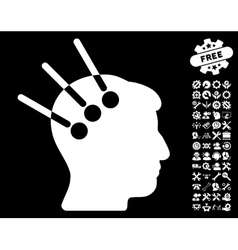 Neural Interface Icon with Tools Bonus vector image vector image