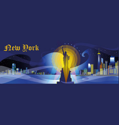 new york-city silhouette in night vector image