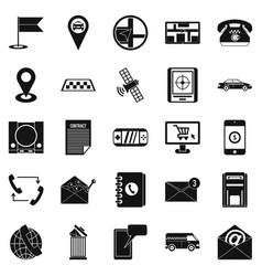 phone service icons set simple style vector image vector image