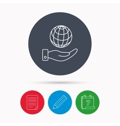 Save planet icon Hand with globe sign vector image vector image