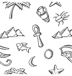 Seamless pattern sketch collection of Egyptian vector image