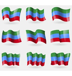 Set of dagestan flags in the air vector