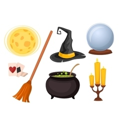 Set of icons for divination and magic tricks vector image vector image