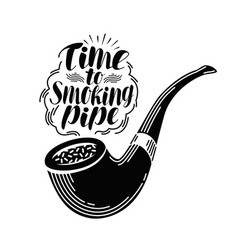 Smoking pipe tobacco label handwritten lettering vector