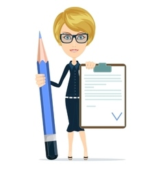 Teacher Holding a Document in Which All Approved vector image vector image