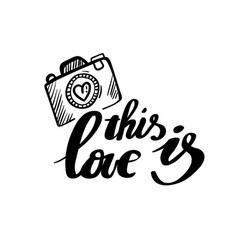 This is love calligraphy postcard poster vector