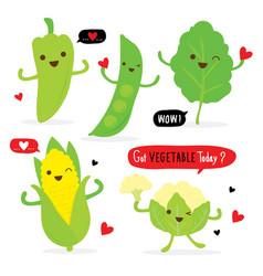 vegetable food fresh cute cartoon vector image