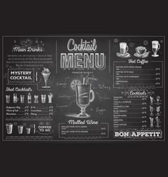 Vintage chalk drawing cocktail menu design vector