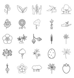Yield icons set outline style vector