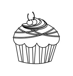 Figure muffin with cherrys and chocolate icon vector