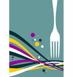 Fork with multicolored waves background vector image