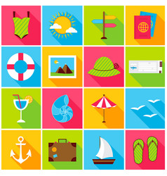 Summer travel colorful icons vector