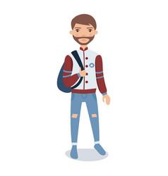 bearded young man wearing baseball jacket standing vector image