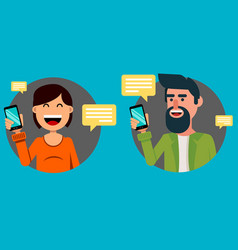 Bearded man and pretty woman with smartphone vector