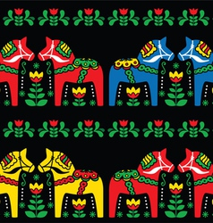 Swedish Dala horse folk seamless pattern on black vector image