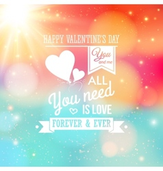 Valentine card typography style soft bokeh vector
