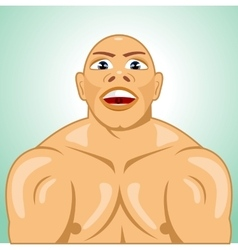 Bald bodybuilder straining muscles vector
