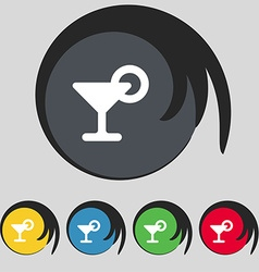 Drink cocktail with a lemon icon sign symbol on vector