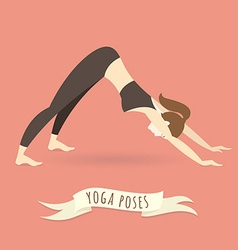 Young woman practicing downward facing dog pose vector