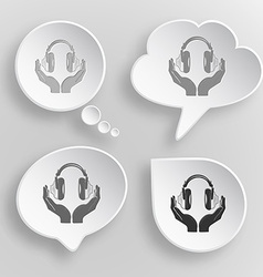 Headphones in hands white flat buttons on gray vector