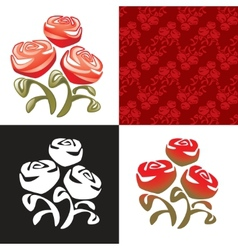 sign  bouquet of roses vector image