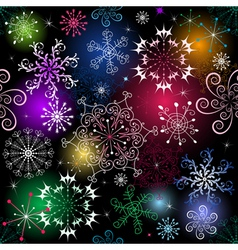 Seamless black christmas pattern with vivid snowfl vector