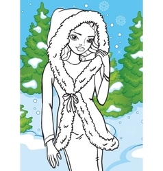 Coloring book of beautiful girl in winter forest vector