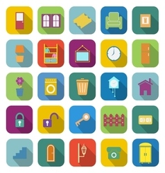 House related color icons with long shadow vector