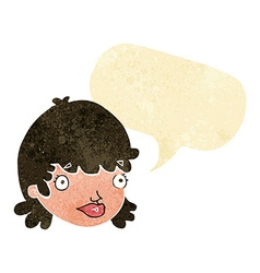 Cartoon staring girl with speech bubble vector